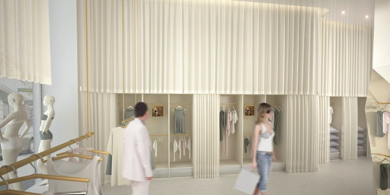 Anjana Perera Visualisierung - Flagshipstore Hanro  mit Linie 4 Architekten Konstanz Wettbewerb (1.Preis)