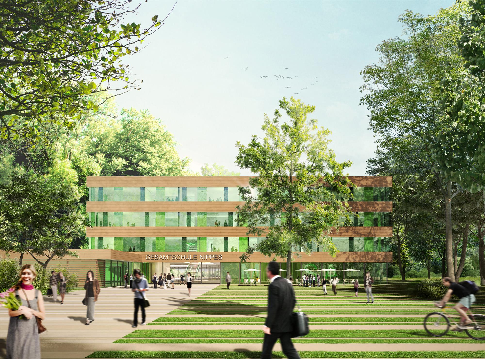 Anjana Perera Visualisierung - Gesamtschule Nippes mit Ackermann + Renner Architekten Berlin Wettbewerb (1.Preis)